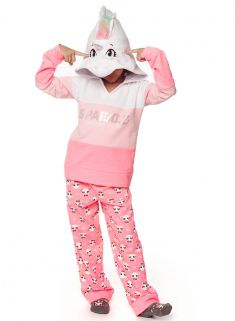 Pijama em moletom fantasia Puket Soft Unicórnio Rosa