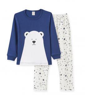 Pijama manga longa em meia malha Pingo Lelê  Urso Polar  Marinho /Off White / Brilha no escuro