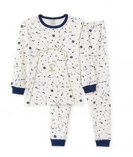 Pijama manga longa em suedine Pingo Lelê Brilha no escuro Urso Polar  Off White/ Marinho