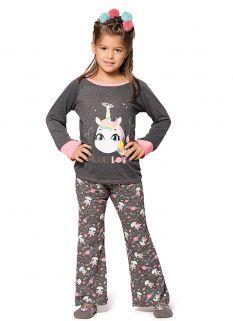 Pijama Manga Longa em visco Puket Unicórnio Mescla