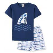 Pijama Pingo Lelê  Manga Curta com Bermuda Shark Marinho Brilha no Escuro