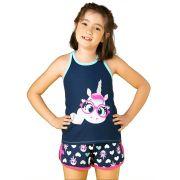 Pijama Regata Nadador e shorts Puket Visco Unicórnio Marinho