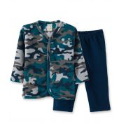 Pijama Soft Pingo Lelê abertura com botão de pressão Camuflado Marinho/Tamanho 2