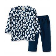 Pijama Soft Pingo Lelê abertura com botão de pressão Fantasminha Marinho