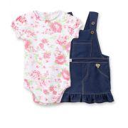 Conjunto salopete cotton Jeans e body  manga curta balonê Pingo Lelê Floral