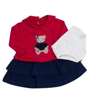 Vestido Coquelicot  manga longa com calcinha Ursinha Vermelho/Marinho