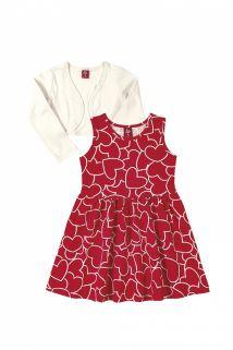 Vestido e bolero em cotton Bee Loop Corações Vermelho/Off White