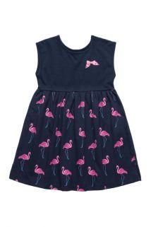 Vestido em Meia Malha Bee Loop Flamingo Marinho