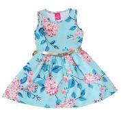 Vestido Primeiros Passos Cotton TMX  Floral Azul / Tamanho 3