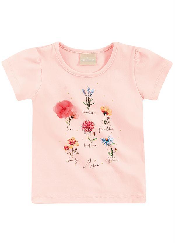 Blusa Infantil Milon Feminina  Rosa flores   / Tamanho 1