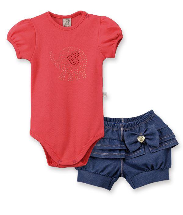 Conjunto Body  manga curta balonê  com  short Cotton Jeans Pingo Lelê  Elefante vermelho