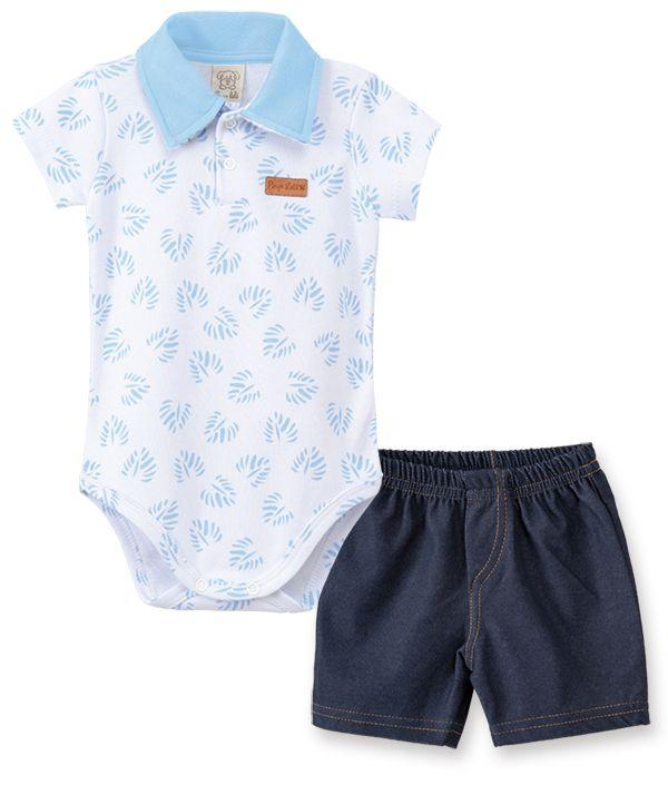 Conjunto Body manga curta gola polo com short Cotton Jeans Pingo Lelê Tropical Azul