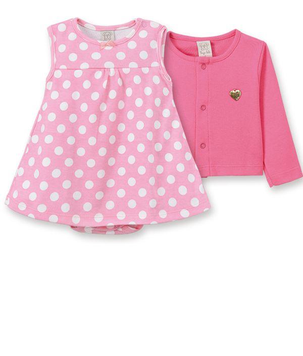 Conjunto Body  vestido com casaqueto Pingo Lelê Pink Poa