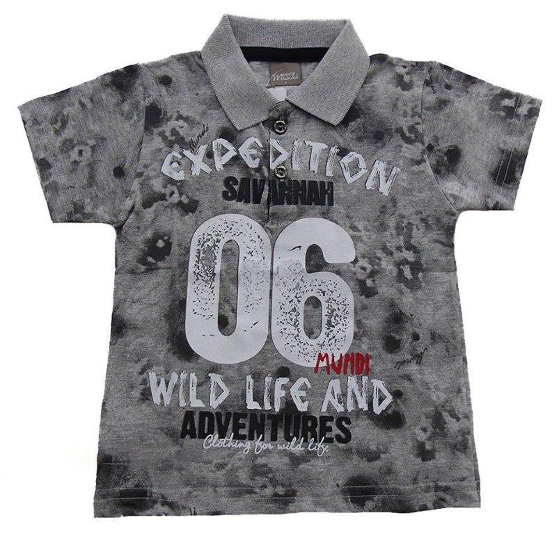 Camisa Polo Brandili Mundi Expedition cinza  / Tamanho 1