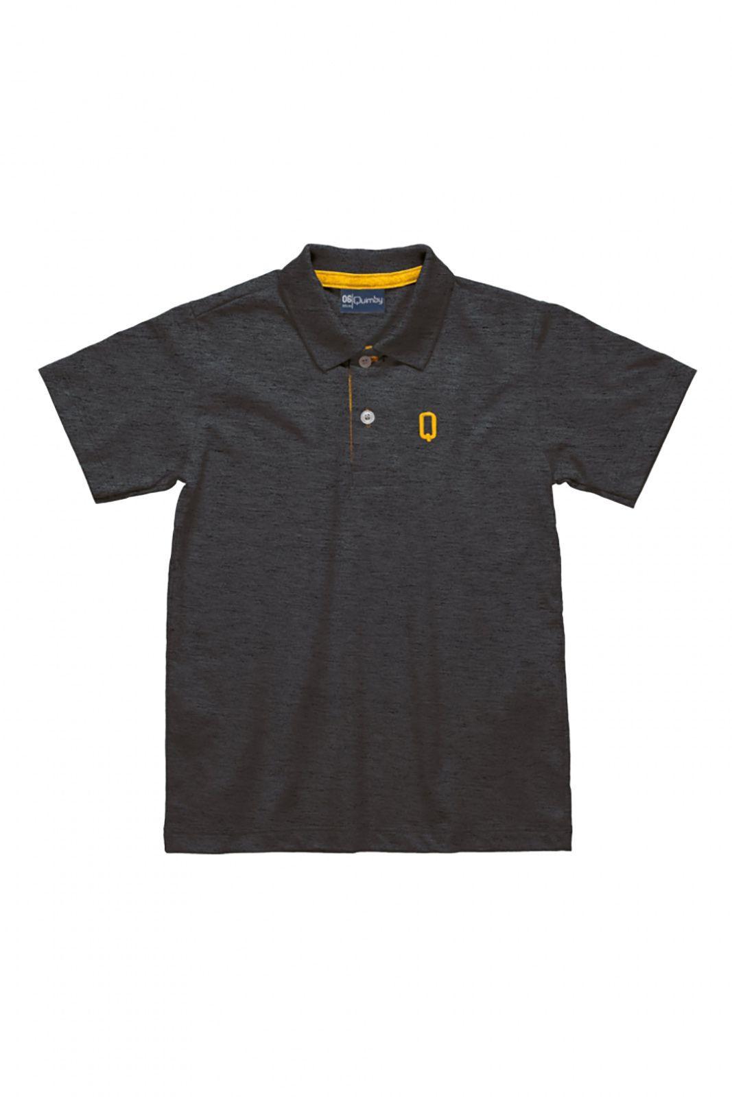 Camisa Polo Infantil em meia malha  Quimby Cinza
