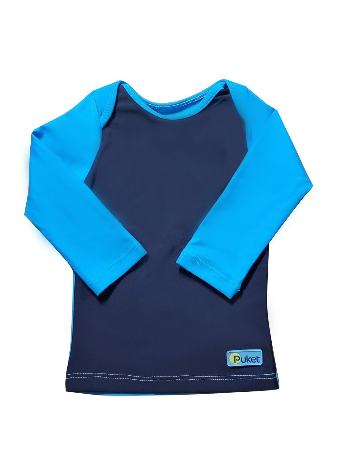 Camiseta Praia Bebê Puket  Marinho e Azul