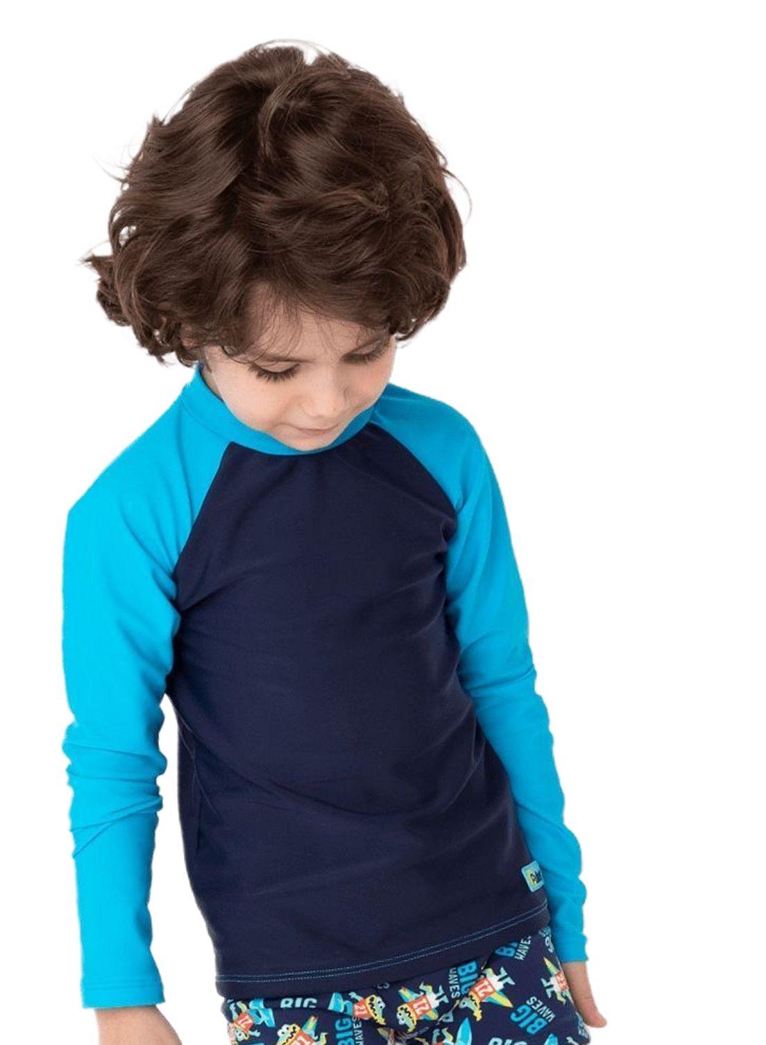 Camiseta Praia Infantil Puket  Marinho e Azul