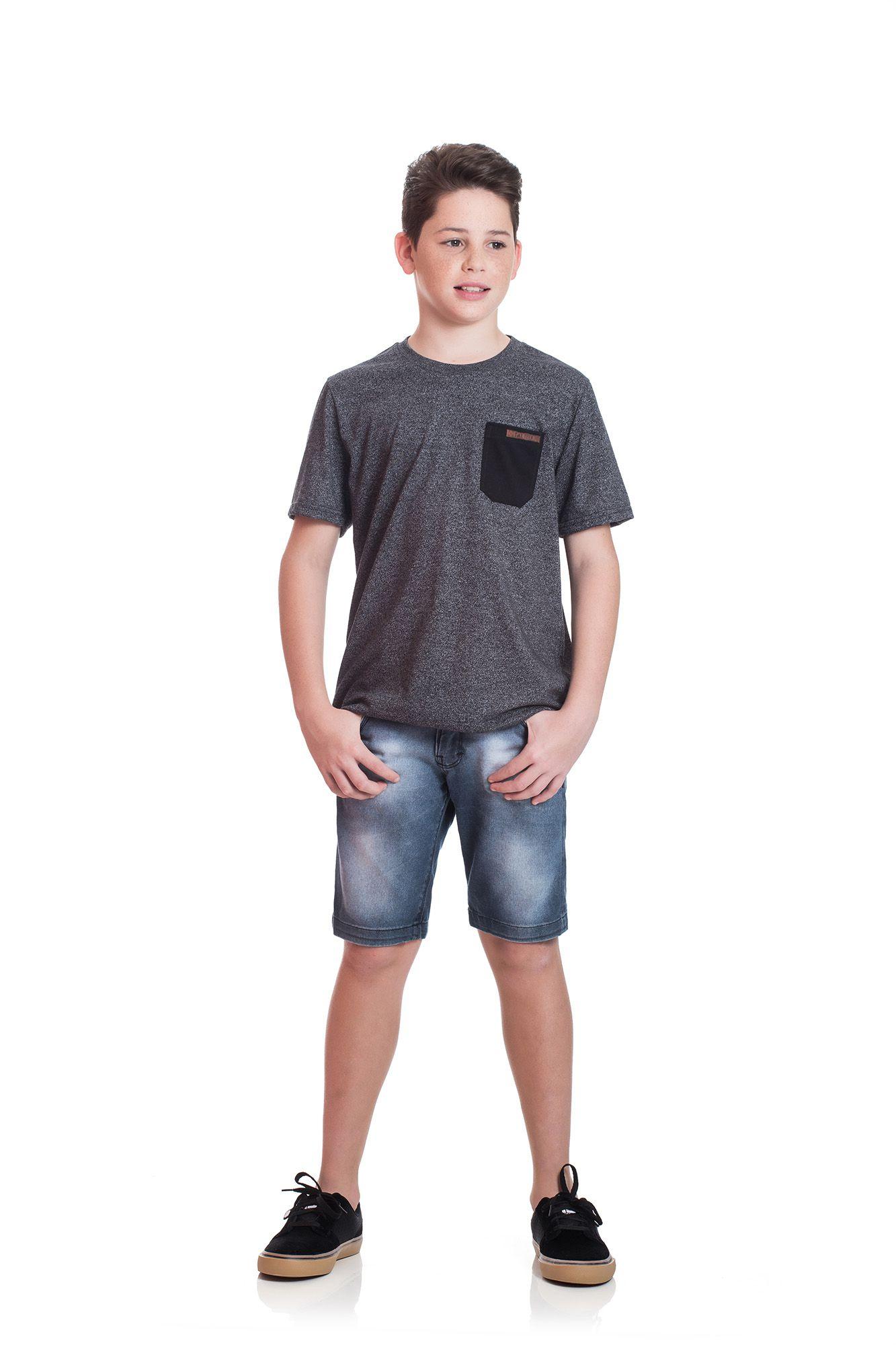 Camiseta Juvenil Moulinê TMX Com Bolso Preta
