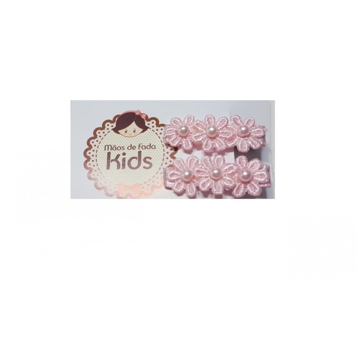 Cartela Mãos de Fada 2 Presilhas Bico de Pato Rococo Rosa