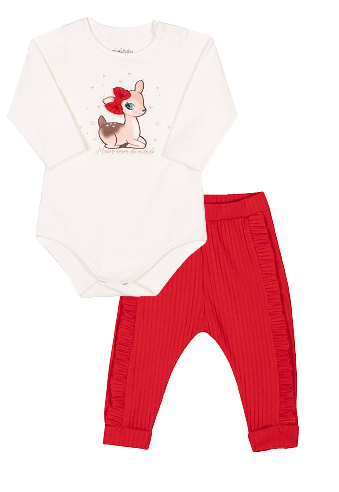 Conjunto Bebê Body e Calça Alce Nini & Bambini Branco e Vermelho