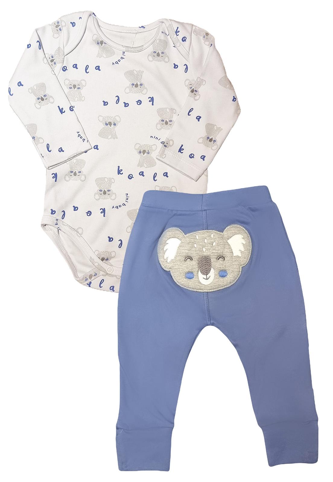 Conjunto Bebê Body e Calça  Nini & Bambini Coala Branco e Azul