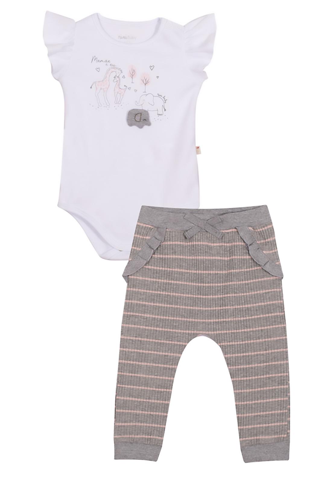Conjunto Bebê Body e Calça Nini & Bambini Elefantinho Cinza e Branco