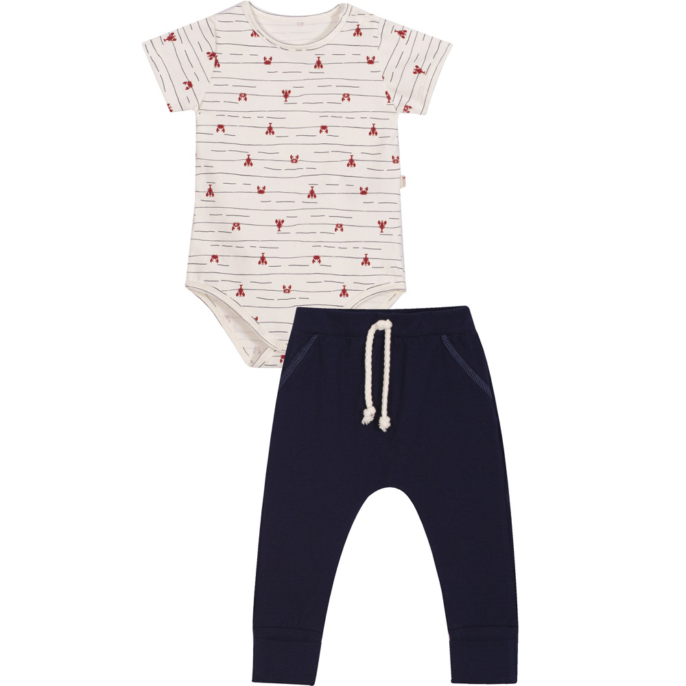 Conjunto Bebê Body e Calça  Nini & Bambini Siri Branco e Marinho