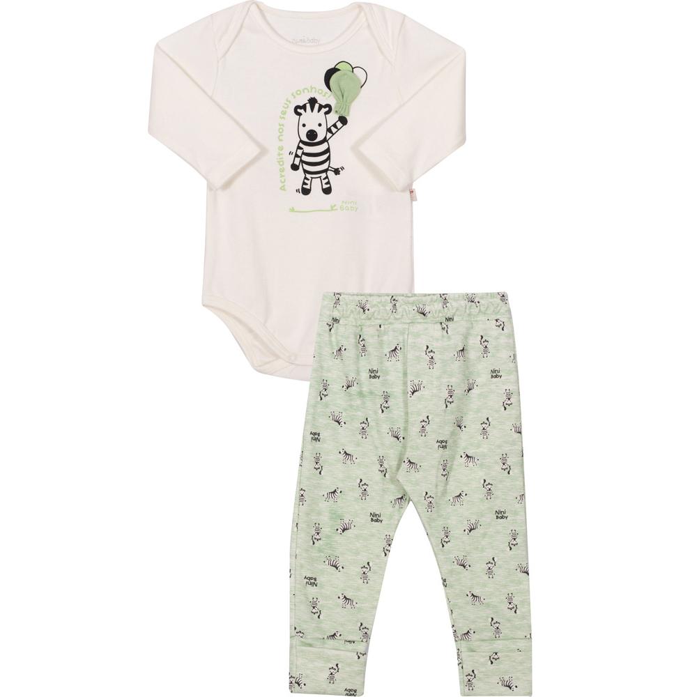 Conjunto Bebê Body e Calça  Nini & Bambini Zebra OffWhite e Verde
