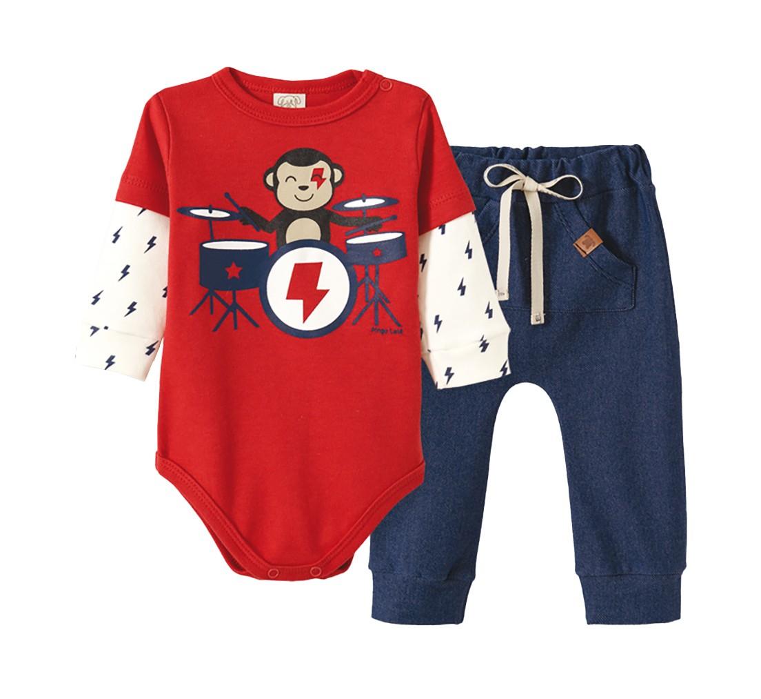 Conjunto Bebê Body manga longa e  Calça Cotton Jeans Pingo Lelê Macaquinho Vermelho e azul