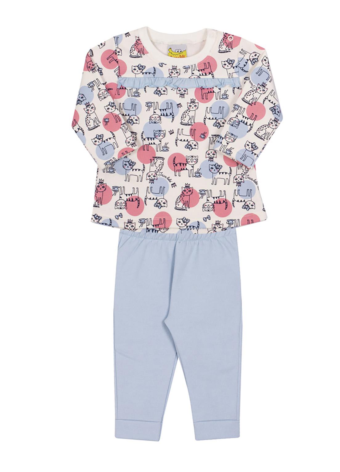 Conjunto Bebê e Infantil  Blusão e Calça  Jaca Lelé Gatinhos Azul