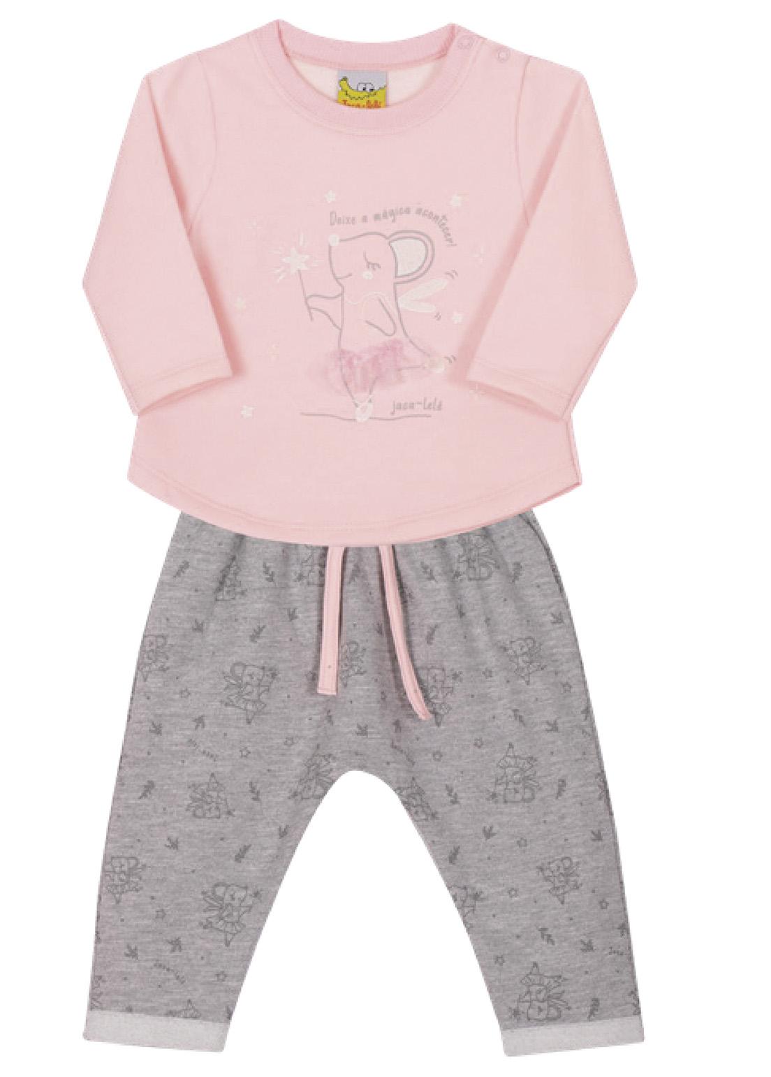 Conjunto Bebê e Infantil  Blusão e Calça  Moletom Jaca Lelé Bailarina Rosa e Mescla