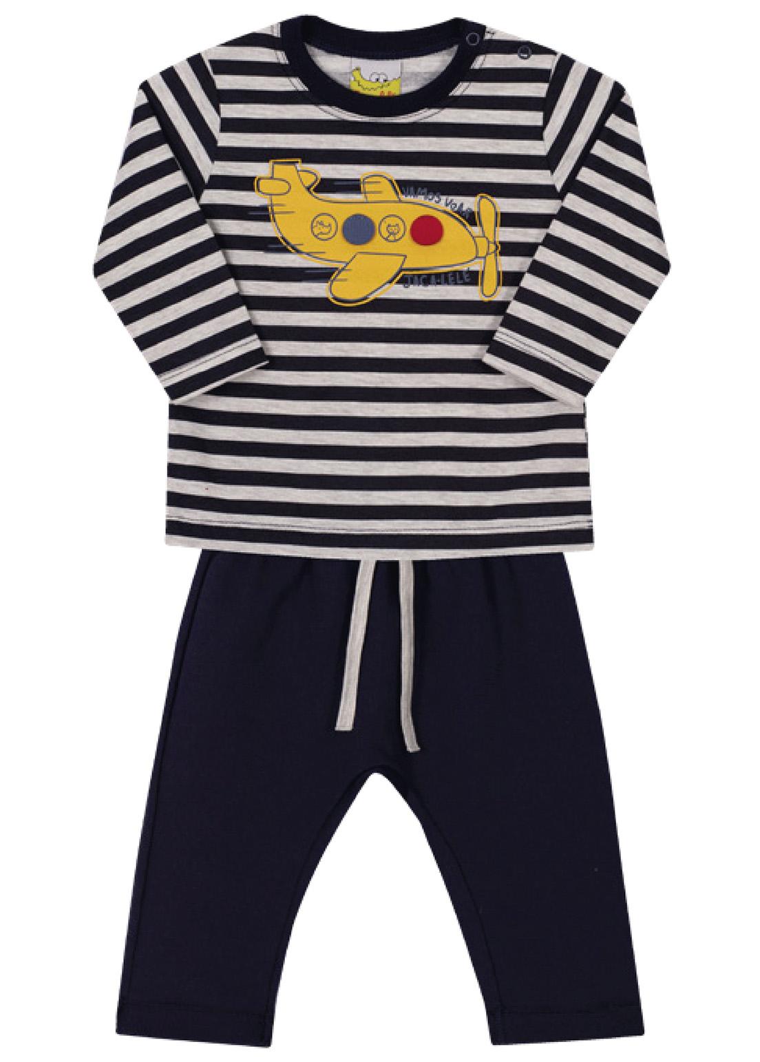 Conjunto Bebê e Infantil Camiseta e Calça Moletom Jaca Lelé Avião Marinho