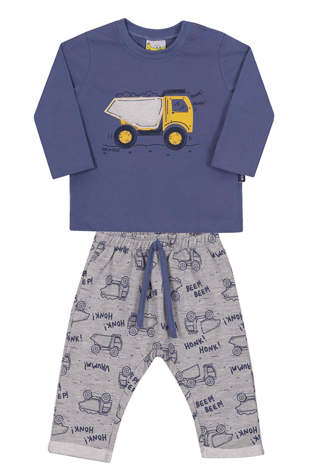 Conjunto Bebê e Infantil Camiseta e Calça Moletom Jaca Lelé Caminhão Azul