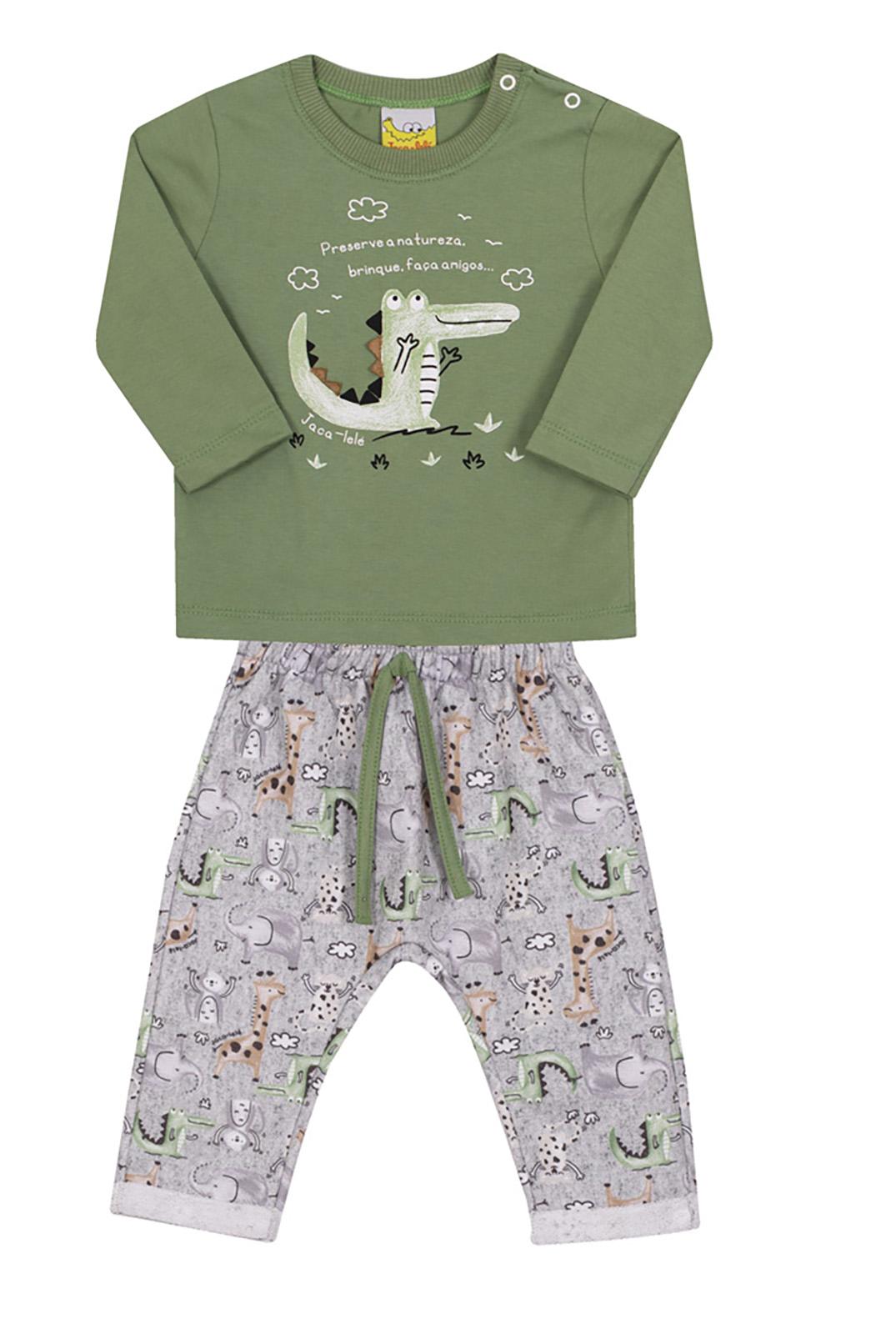 Conjunto Bebê e Infantil Camiseta e Calça Moletom Jaca Lelé Jacaré Verde