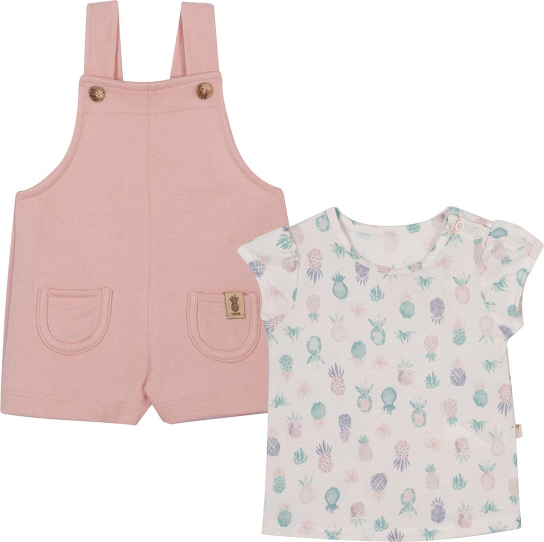 Conjunto Bebê e Infantil  Camiseta e Jardineira Nini & Bambini Abacaxi Rosa e Offwhite