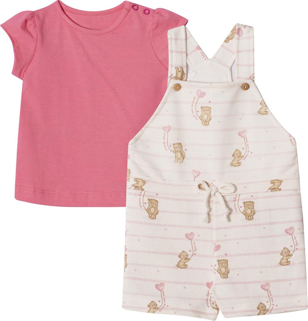 Conjunto Bebê e Infantil  Camiseta e Jardineira Nini & Bambini  Ursinhos Pink e Offwhite