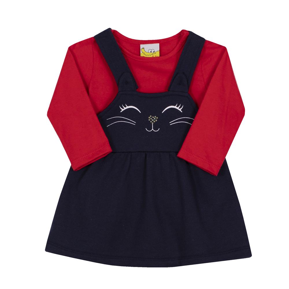 Conjunto Bebê e Infantil  Salopete e Camiseta Jaca Lelé Gatinha Marinho e Vermelho