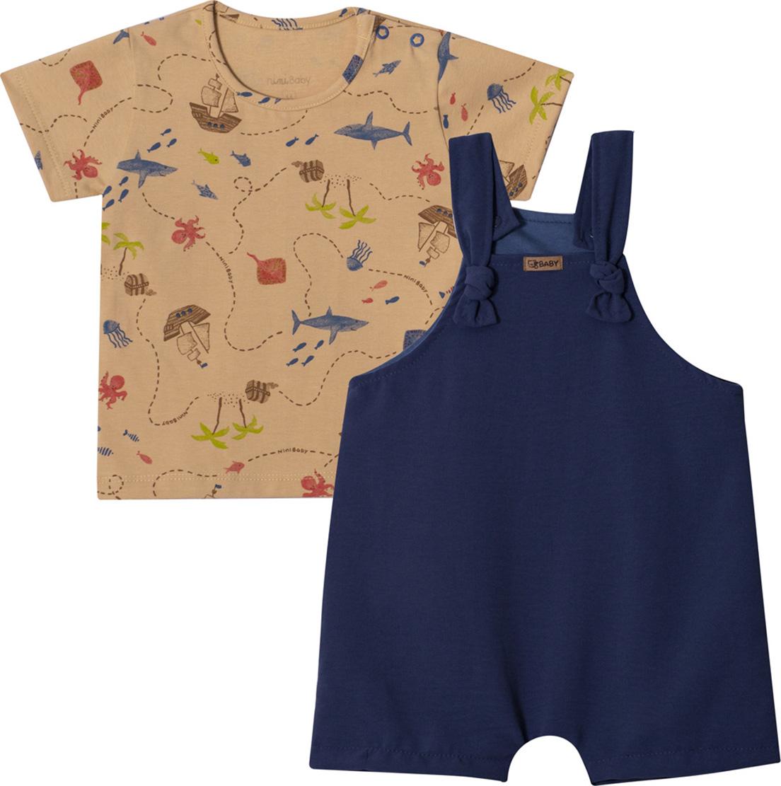 Conjunto Bebê Jardineira e Camiseta Nini&Bambini Mapa do Tesouro Marinho e Mostarda
