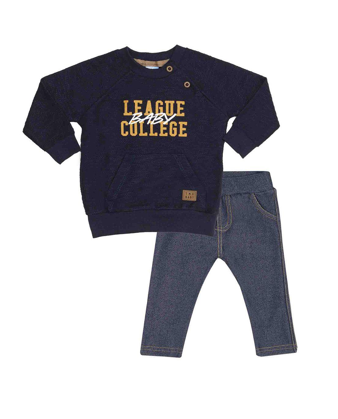 Conjunto Bebê TMX Blusa Moletom Flamê  e Calça Jogger Cotton jeans Marinho e Jeans