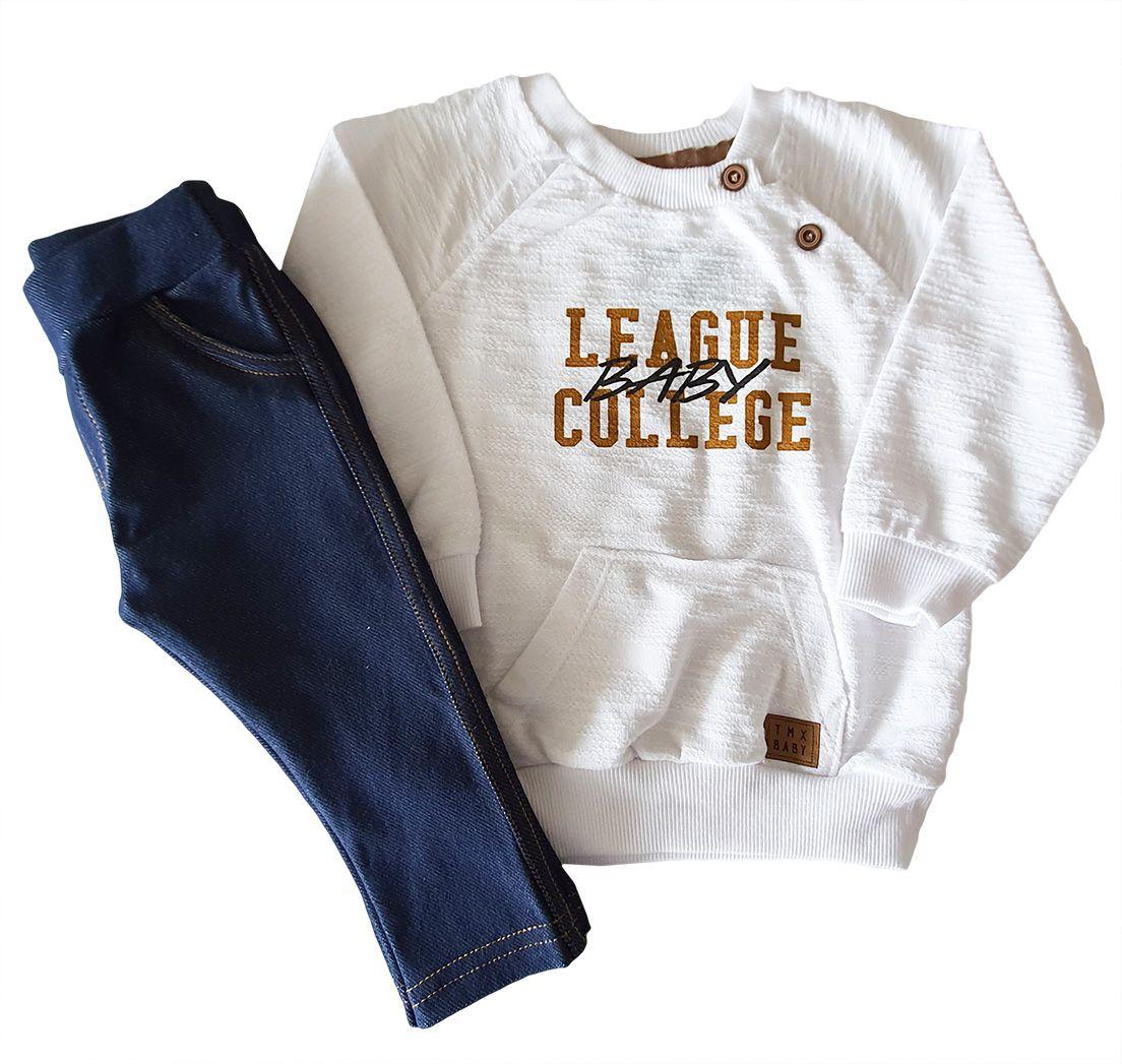 Conjunto Bebê TMX Blusa Moletom Flamê  e Calça Jogger Cotton jeans Off White e Jeans