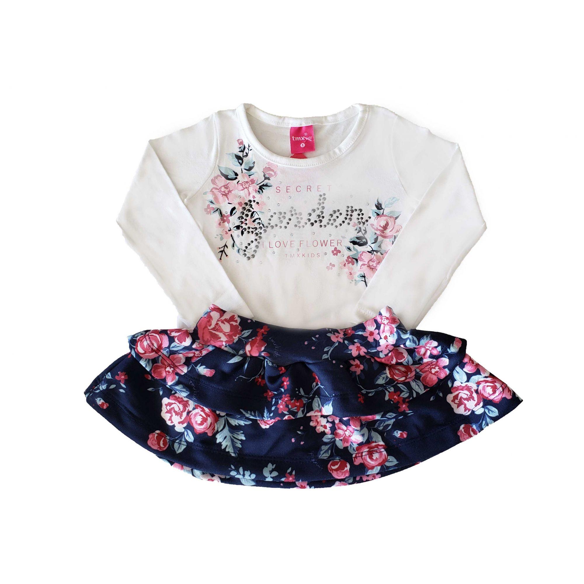 Conjunto Blusa Cotton e Saia Moletom TMX  Marfim/Floral /Tamanho 2