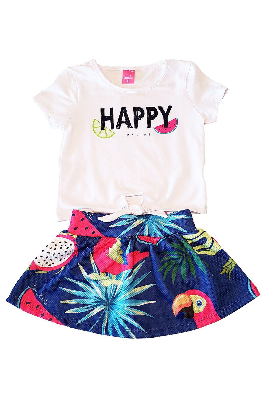 Conjunto Blusa  Cotton e Saia-Shorts Allure TMX Happy Marinho