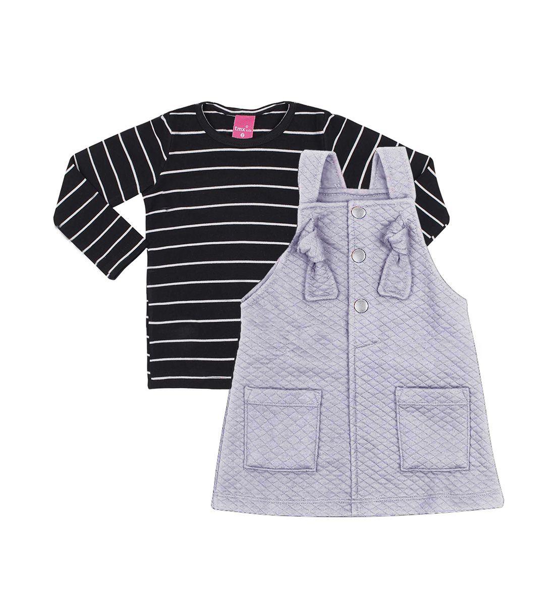 Conjunto Infantil Blusa Cotton e Salopete Matelassê TMX  Mescla e Preto