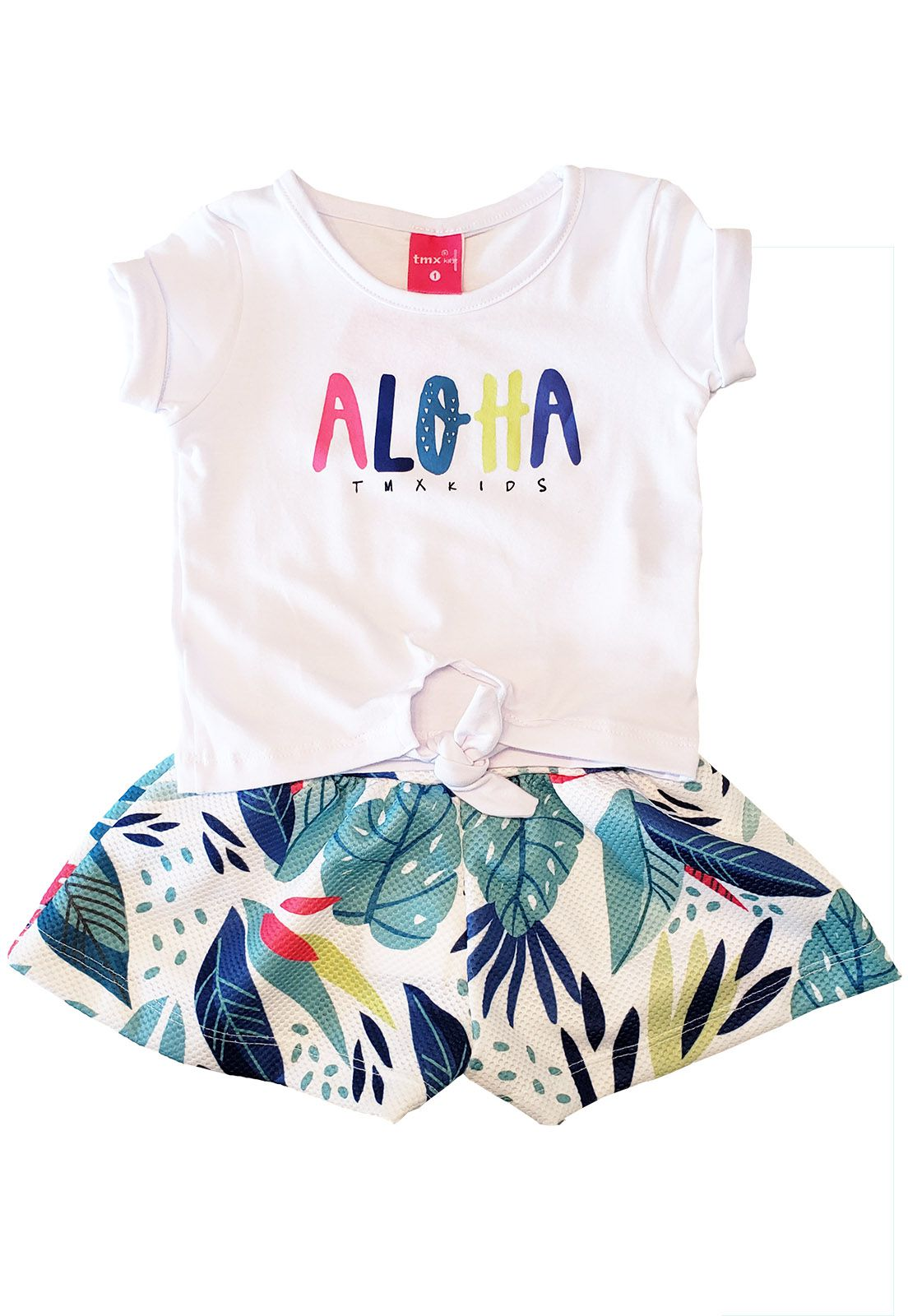 Conjunto Blusa Cotton e  Short Saia Alure TMX  Aloa Branco