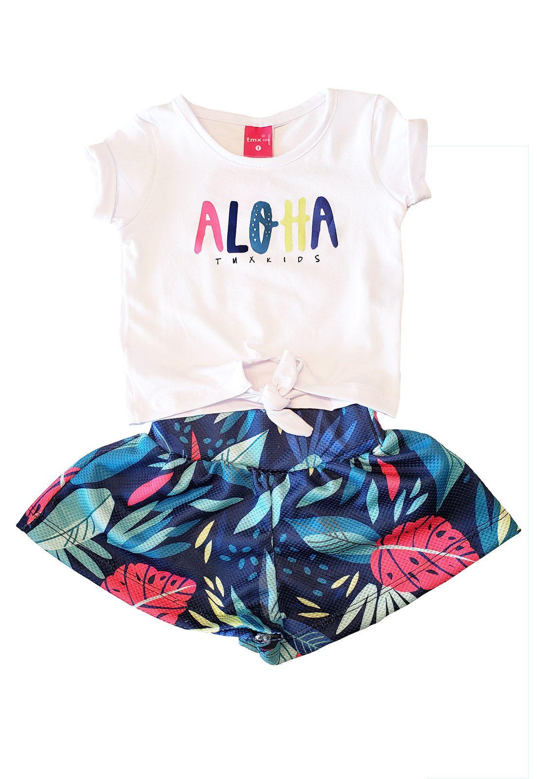 Conjunto Infantil Blusa Cotton e  Short Saia Alure TMX  Aloa Marinho