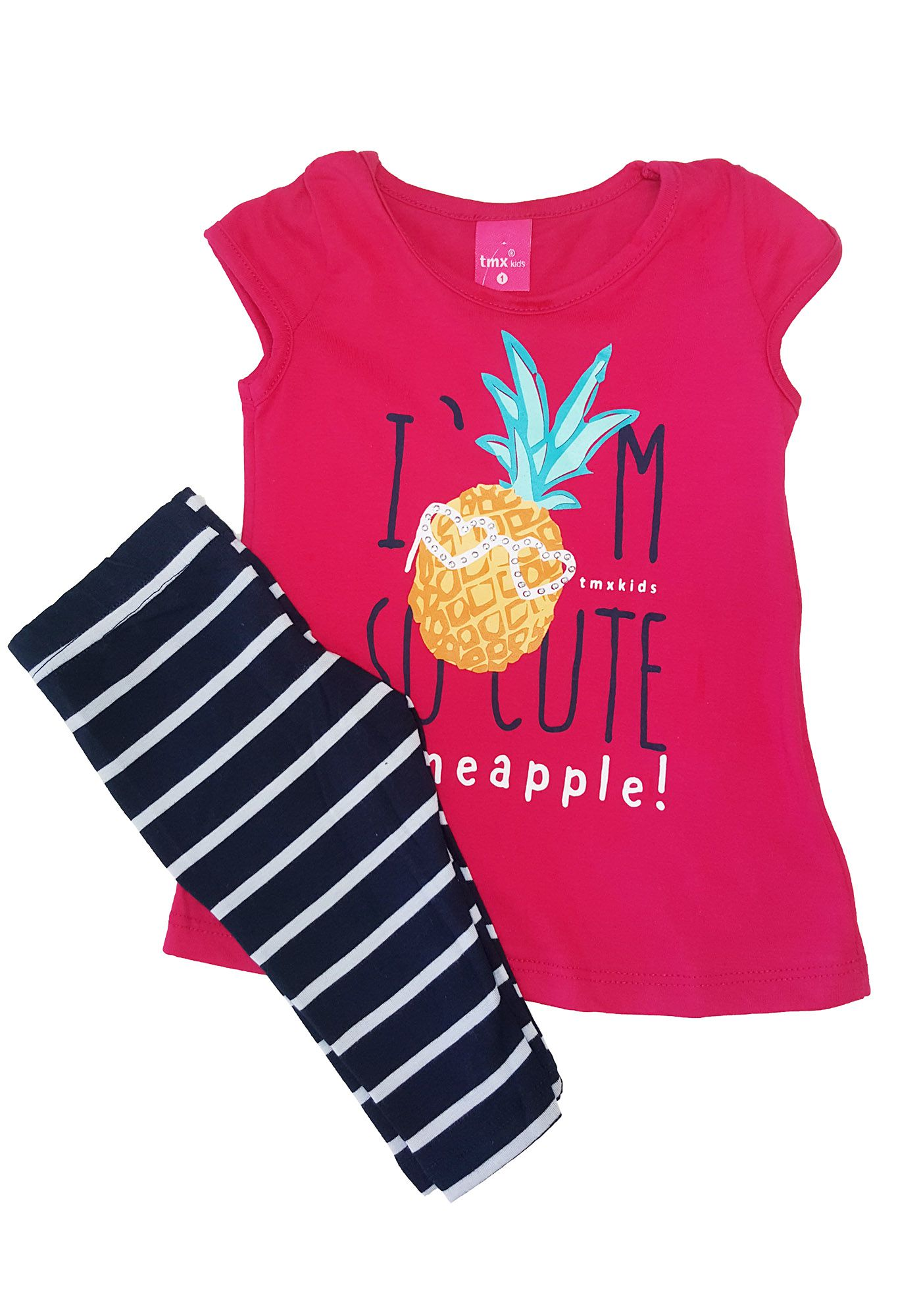Conjunto Infantil Blusa e Capri TMX Pineaple Pink