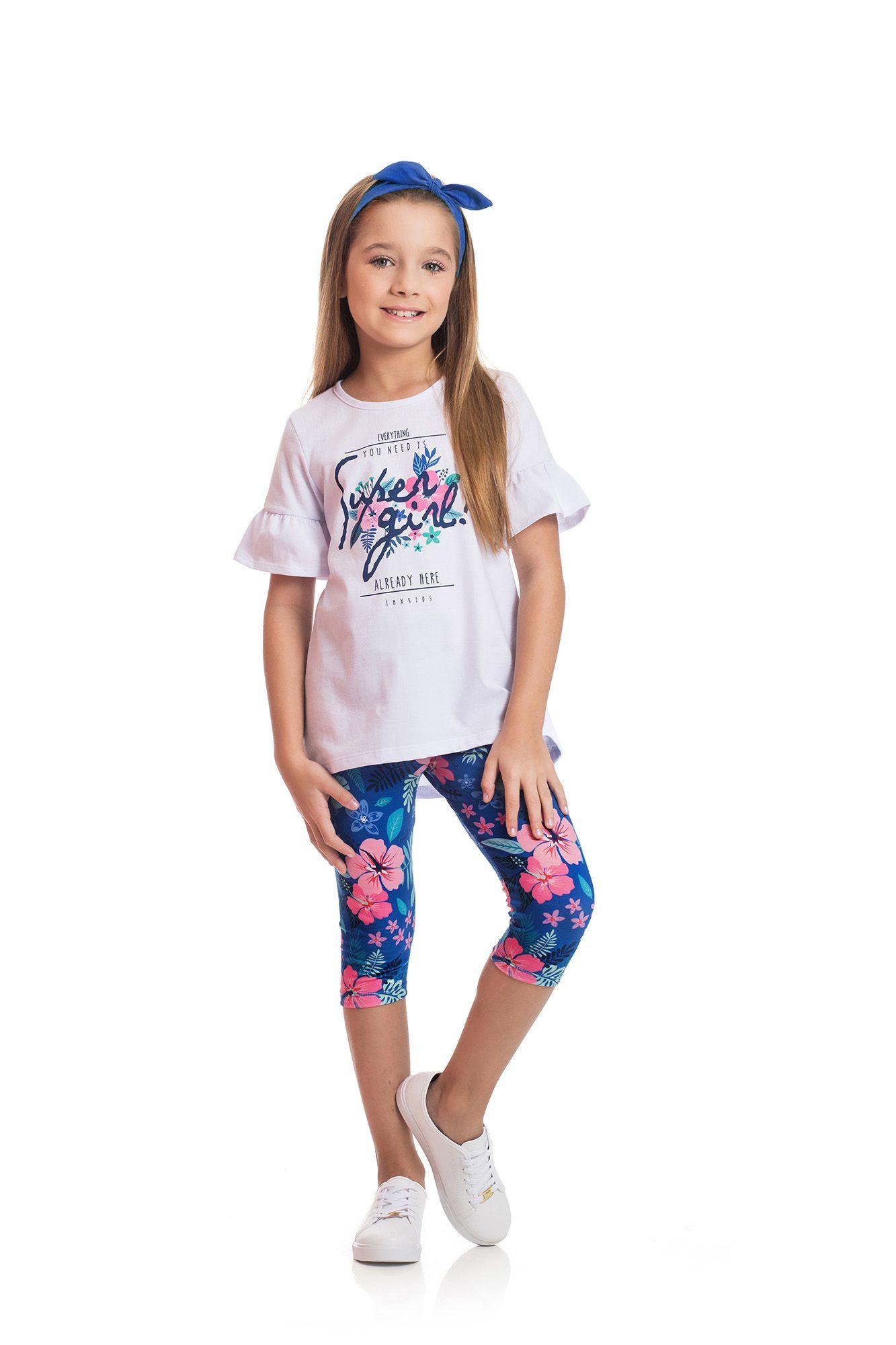 Conjunto Blusa e Capri TMX  Super Girl /Mescla Verde Floral / Tamanho 6