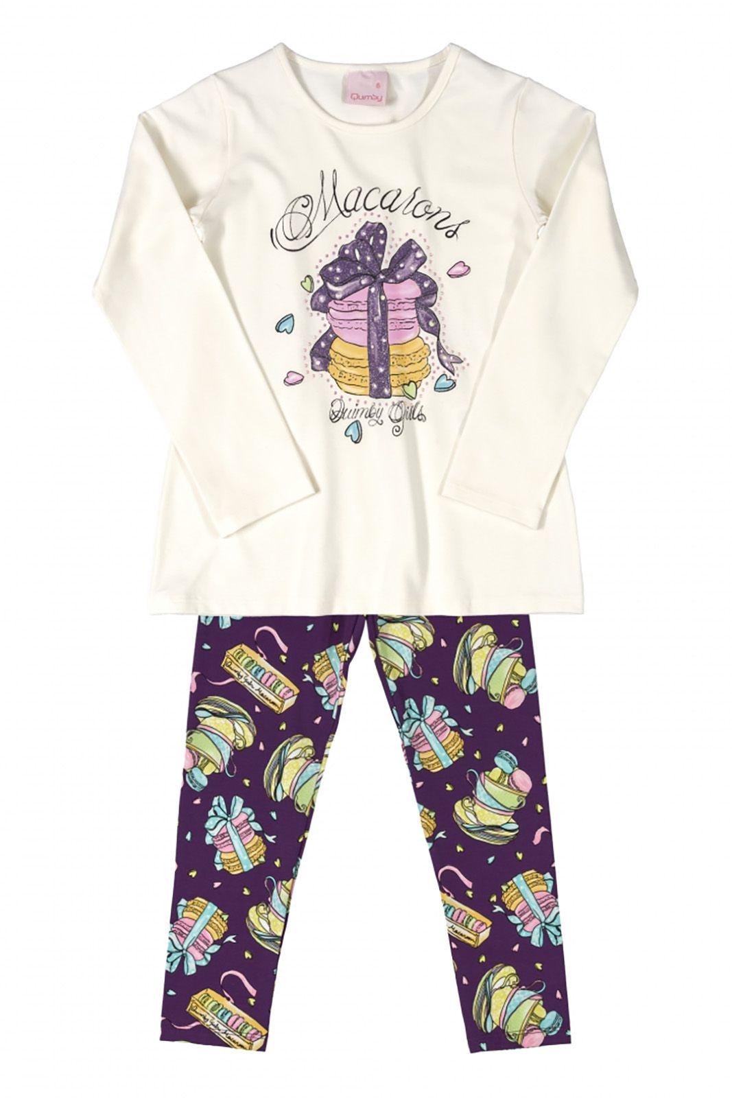 Conjunto Infantil Blusa e Legging em cotton Quimby Macarons Off White e Lilás