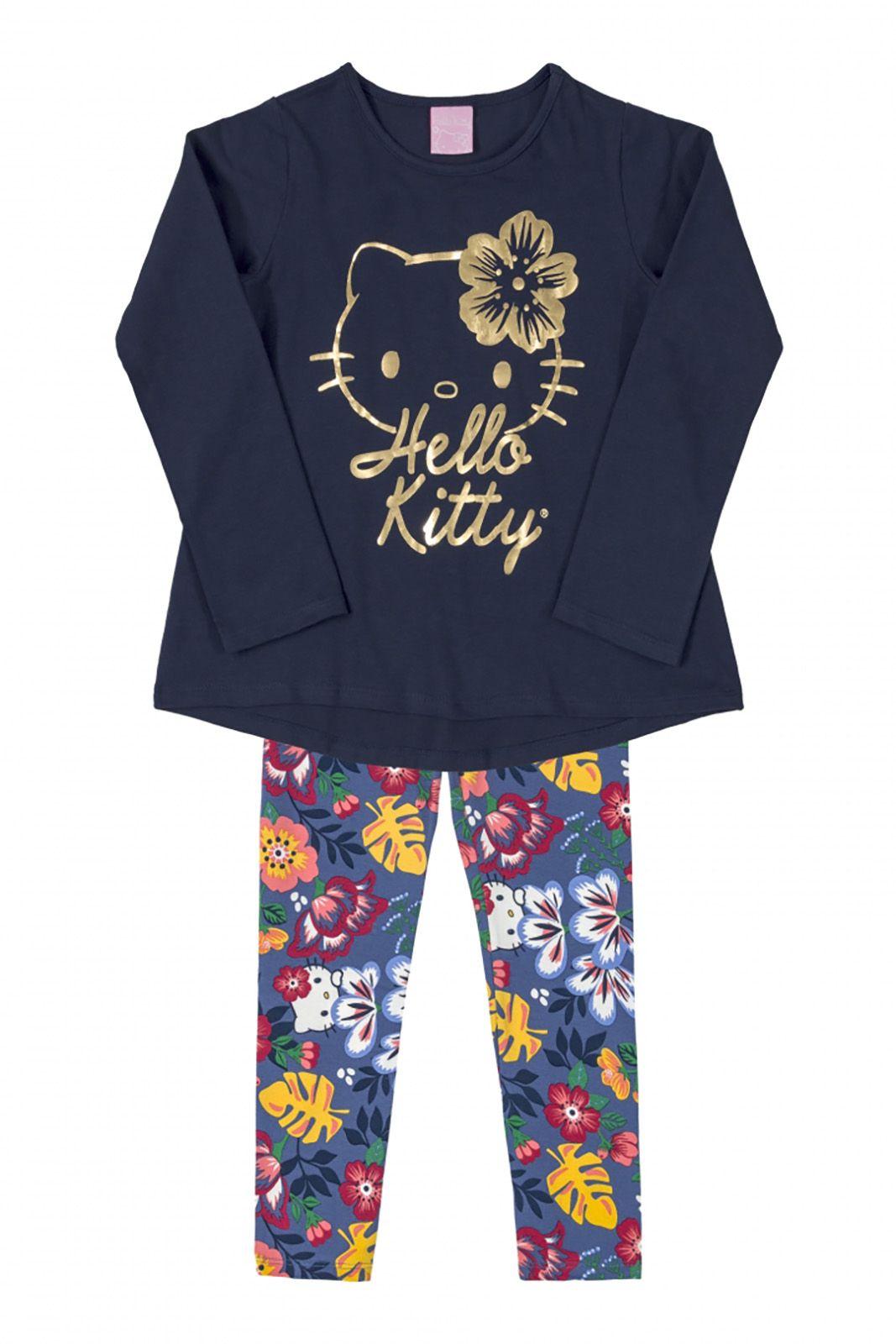 Conjunto Blusa e legging Hello Kitty Floral/Marinho