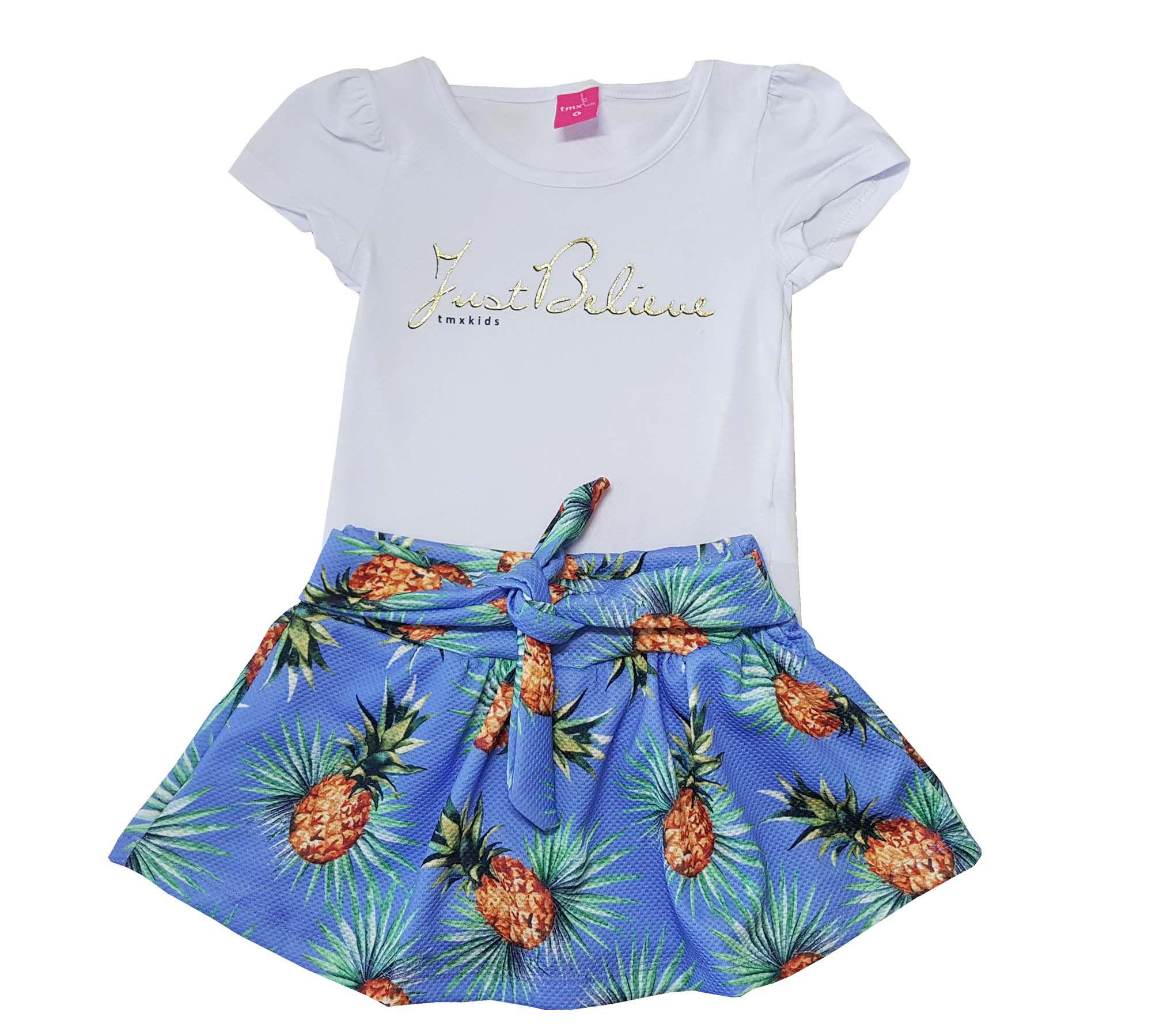 Conjunto Blusa e Saia-Shorts TMX  Just Believe Azul  / Tamanho 4